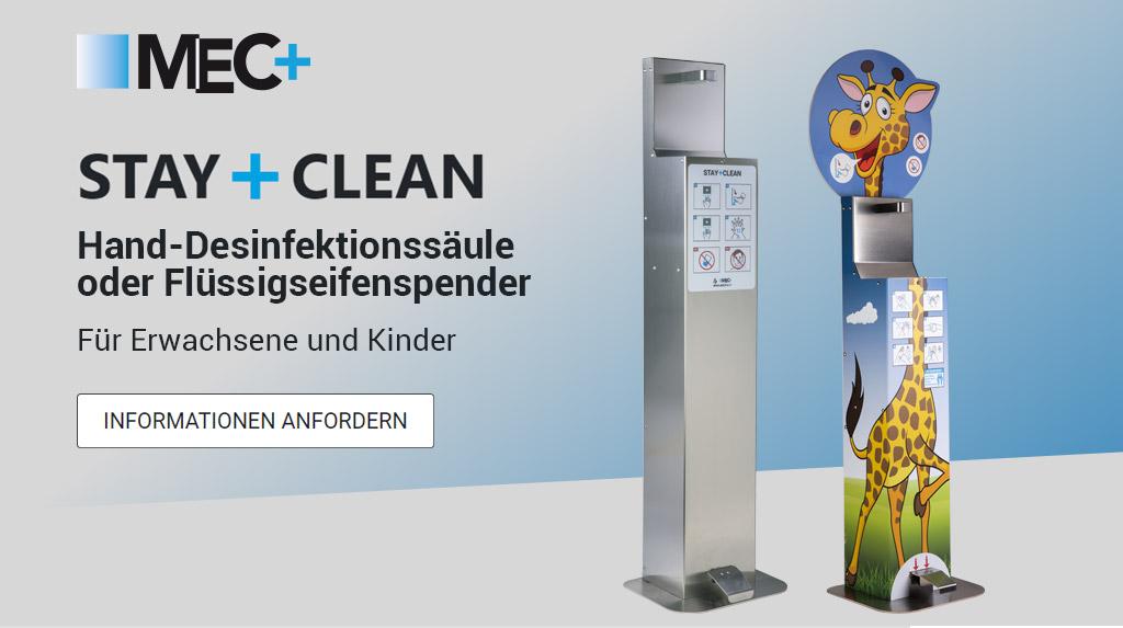 STAY+CLEAN Colonnina igienizzante mani o portasapone liquido